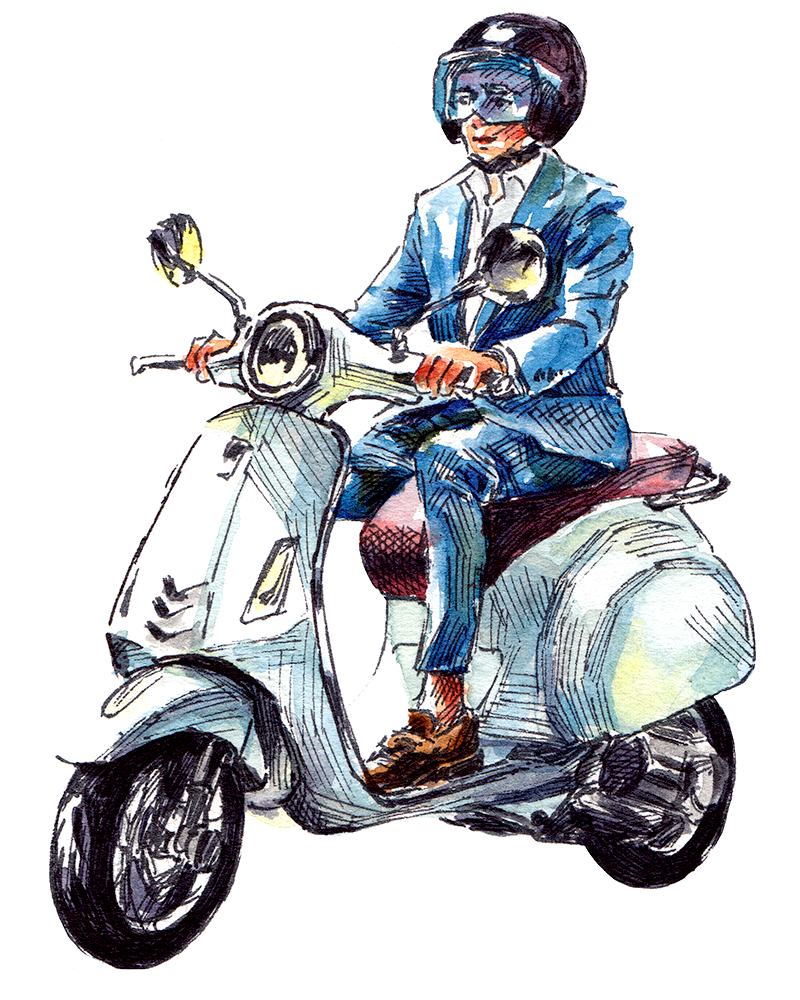 Italian man wearing menswear on a scooter in Milan