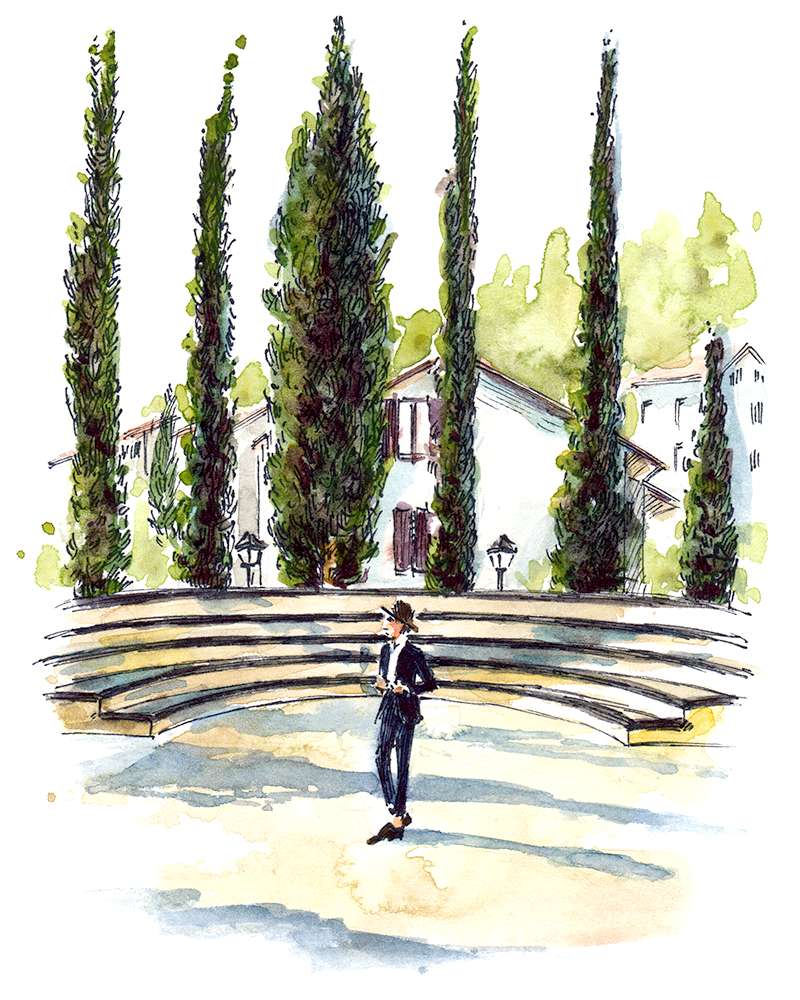 Staging in the heart of the Solomeo Amphitheater, built by Brunello Cucinelli.