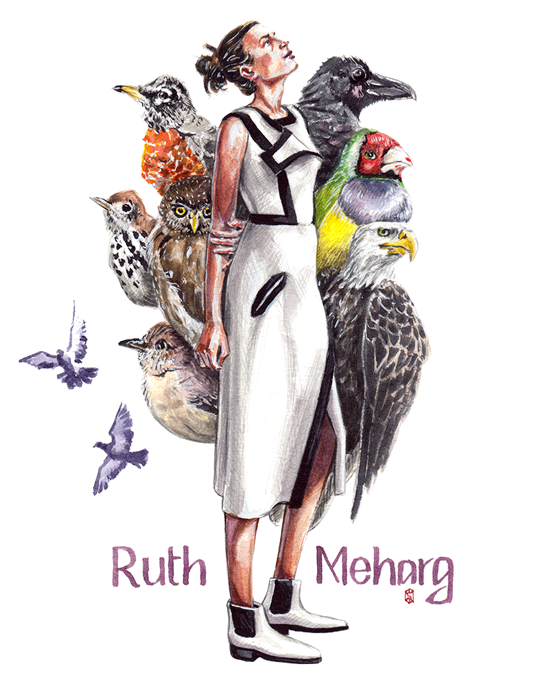 Fashion Illustration of Ruth Meharg wearing a dress from Max Mara dress