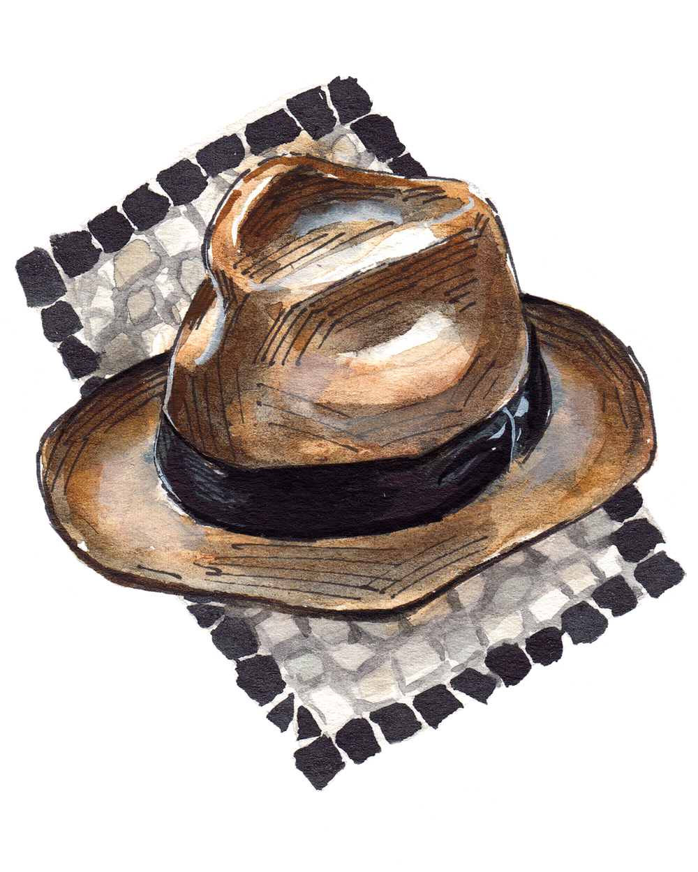 painting of a Borsalino, Italian fedora with a mosaic background