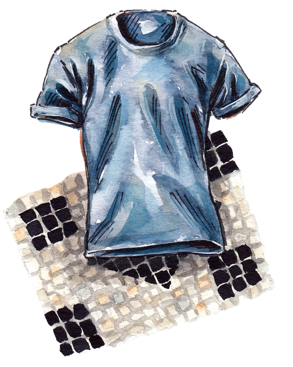 painting of a Brunello Cucinelli tee shirt, with a mosaic background