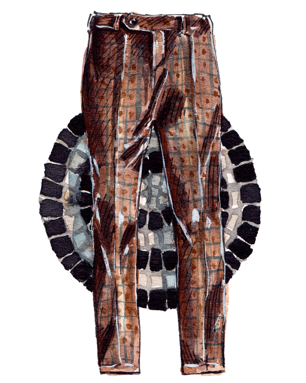 Painting of brown Zanella pants, with a mosaic background