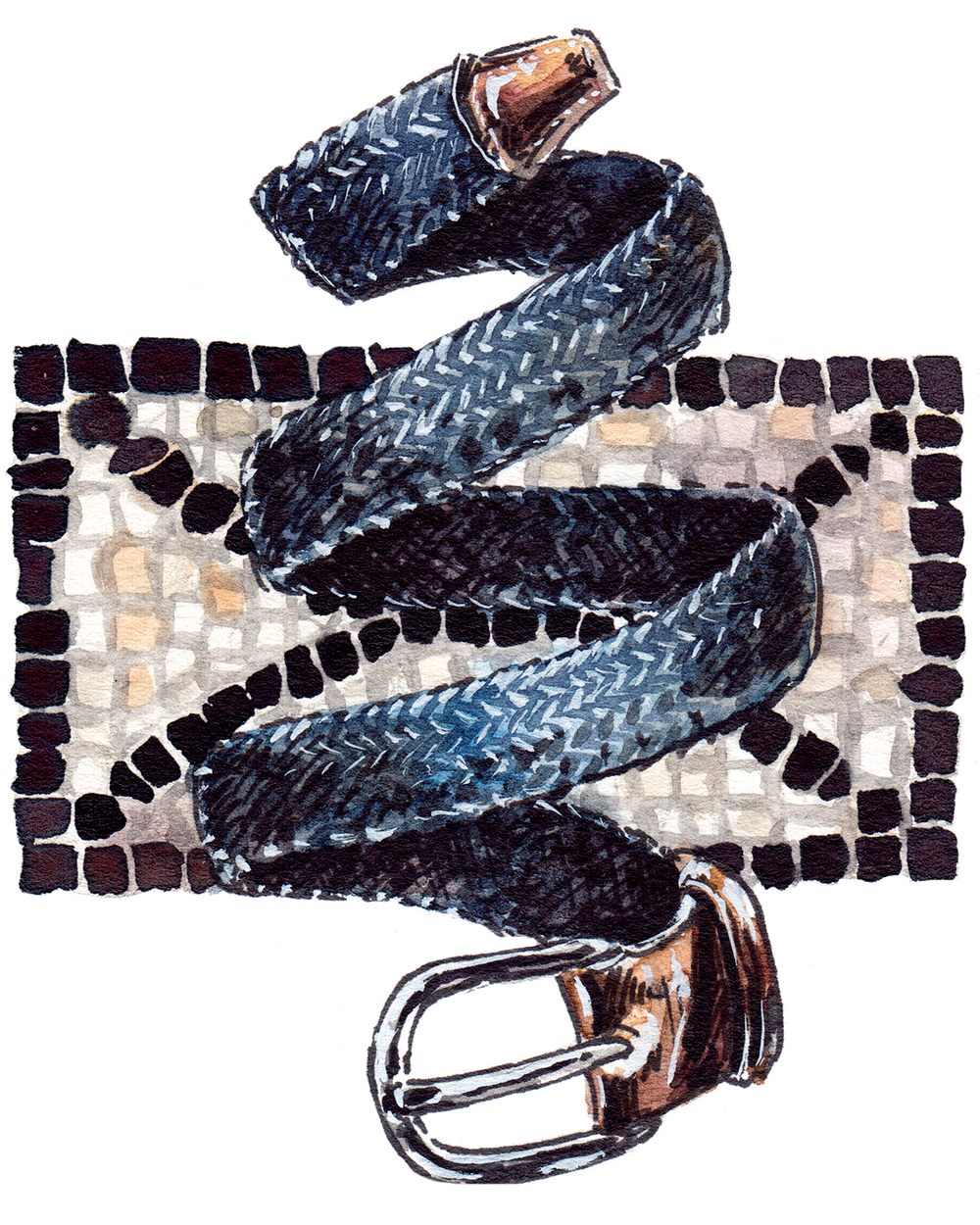 painting of Anderson's woven belt, with a mosaic background