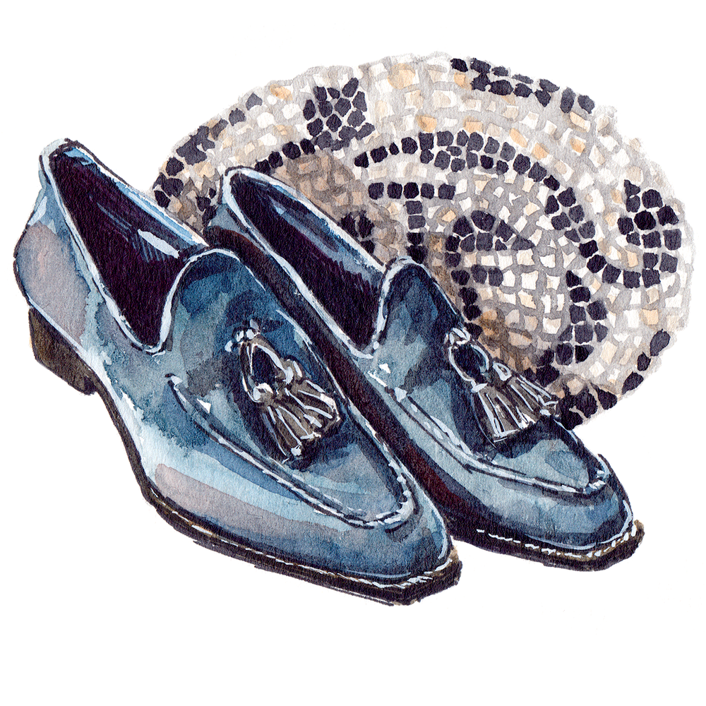 painting of grey-blue Santoni Loafers, with a mosaic background