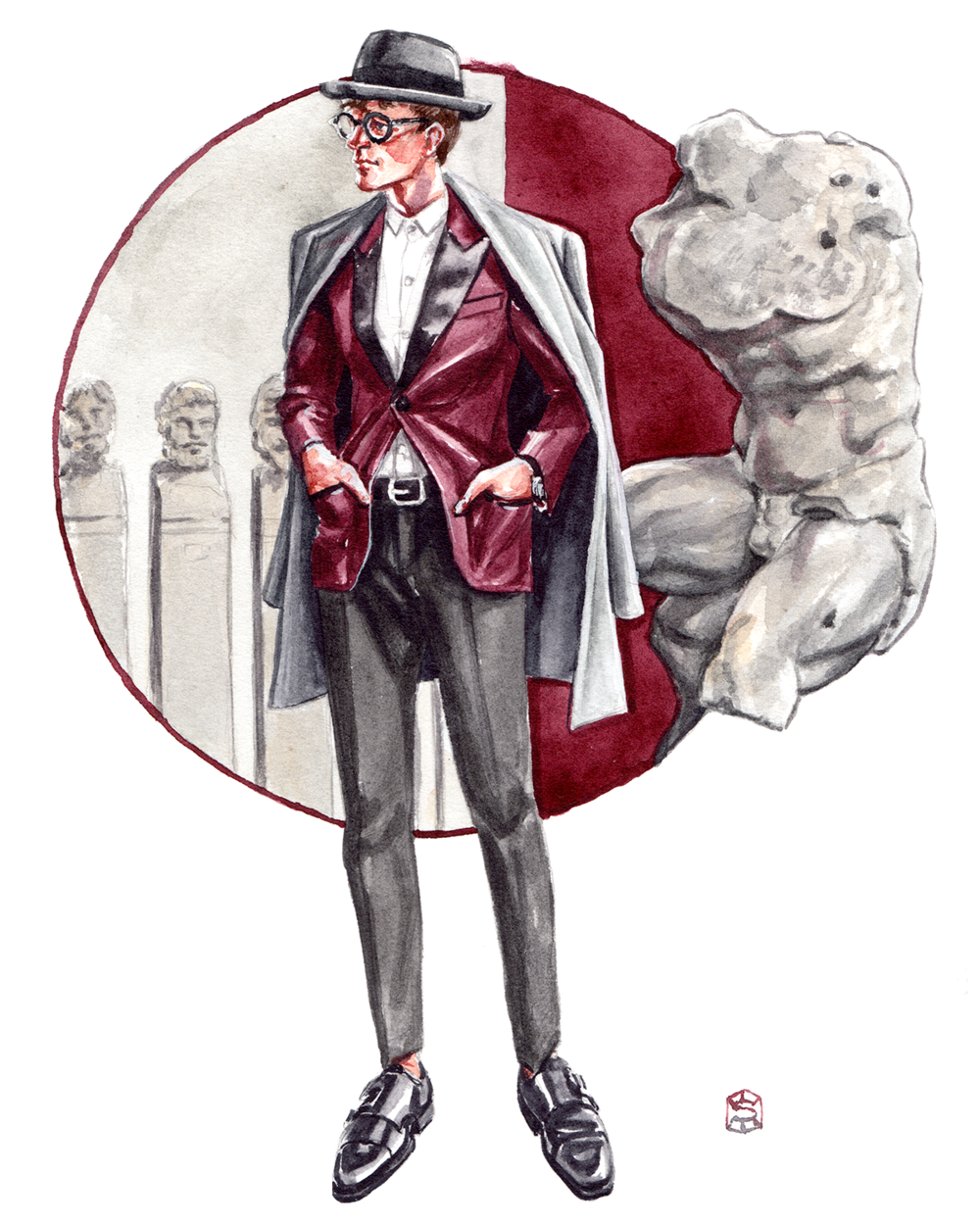 Menswear Illustration of a man wearing a fashionable outfit from Espress Men, standing near the Belvedere Torso, a sculpture in the Vatican Museum