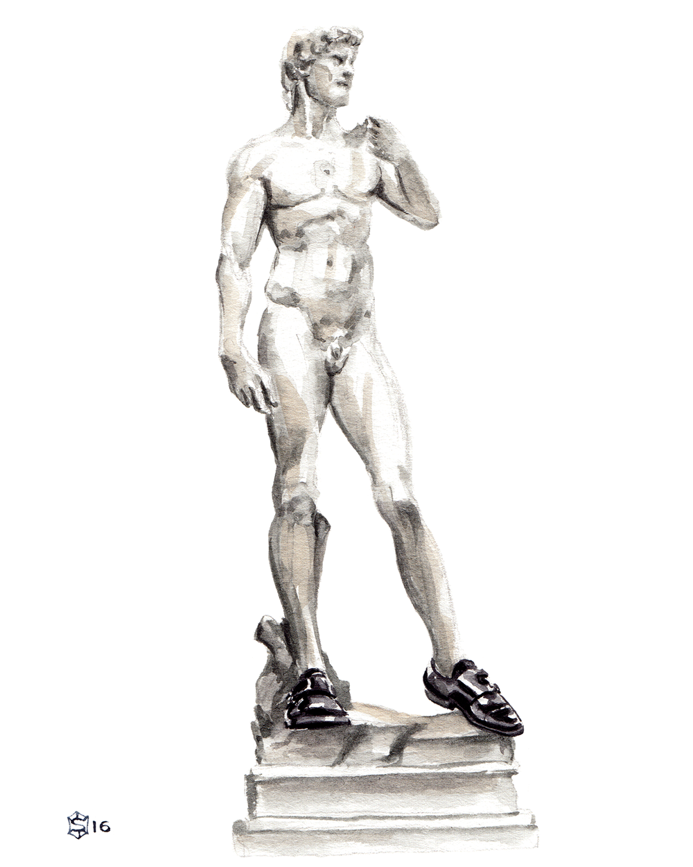 Menswear Illustration Michelango's The David wearing Express double monk shoes