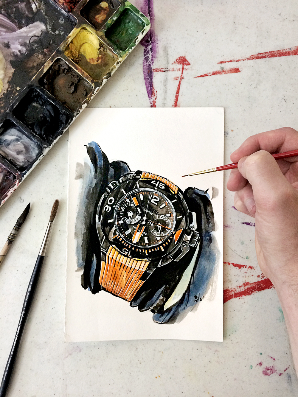 Painting of a CLERC Watches automatic diver watch in the Sunflowerman artist Studio