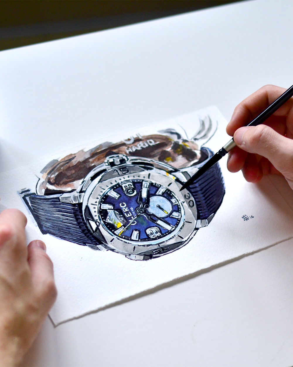 Watercolor painting of the CLERC watches Hydroscaph GMT Power Reserve Chronometer with the hands of the artist