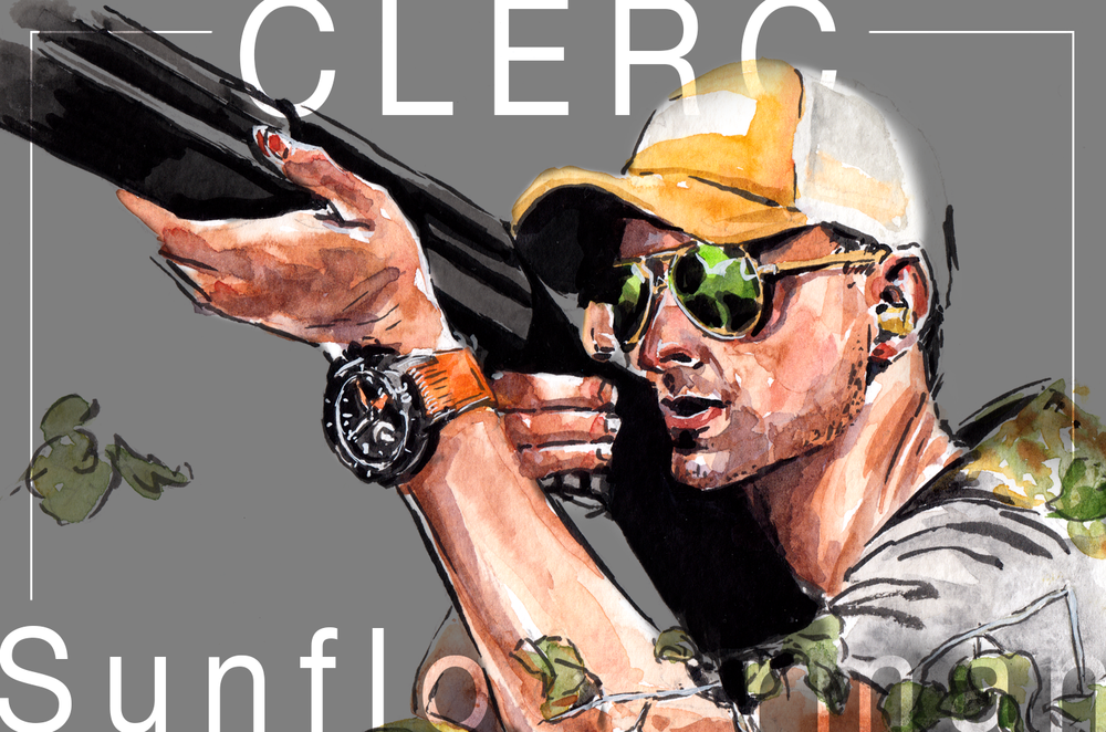 Blog header of the painting of man hunting, wearing orange cap, camo vest, metal frame shades and CLERC watch