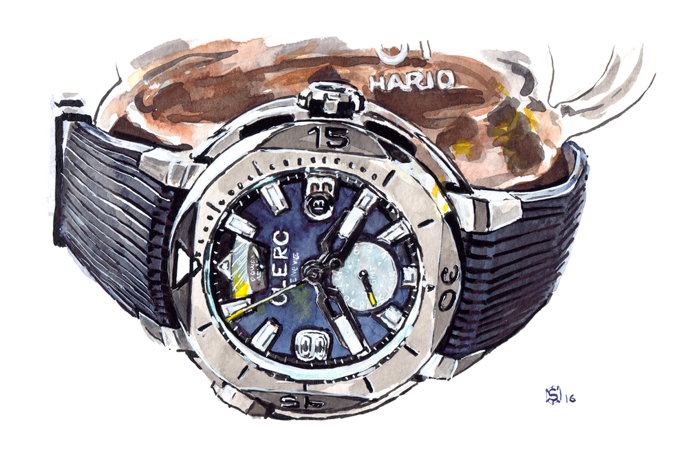 Painting of CLERC hydroscaph GMT power reserve laying crown-up with hario coffee behind