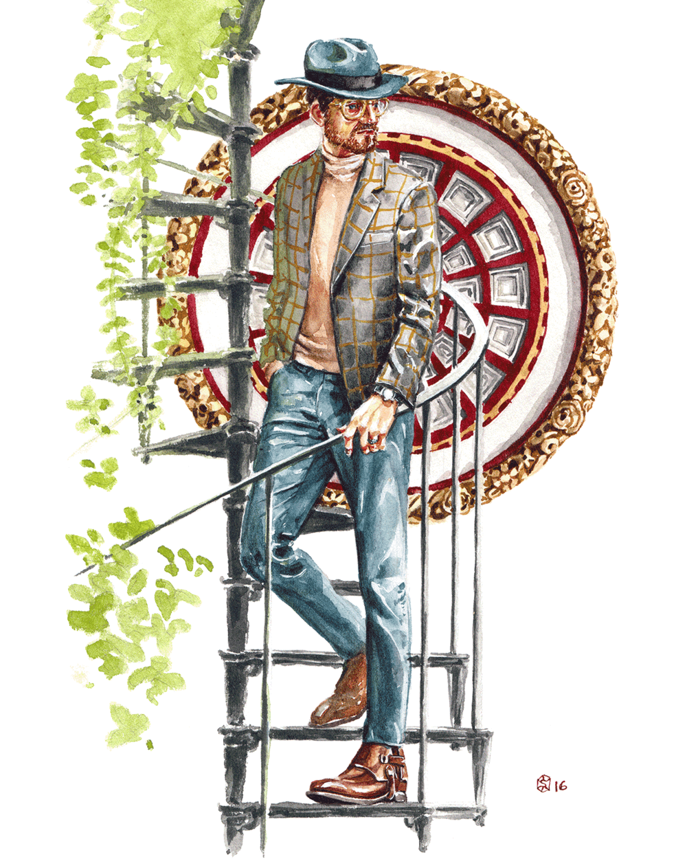 Well dressed man in an Italian style with a coffered illustration as backdrop as he walks down spiral stairs