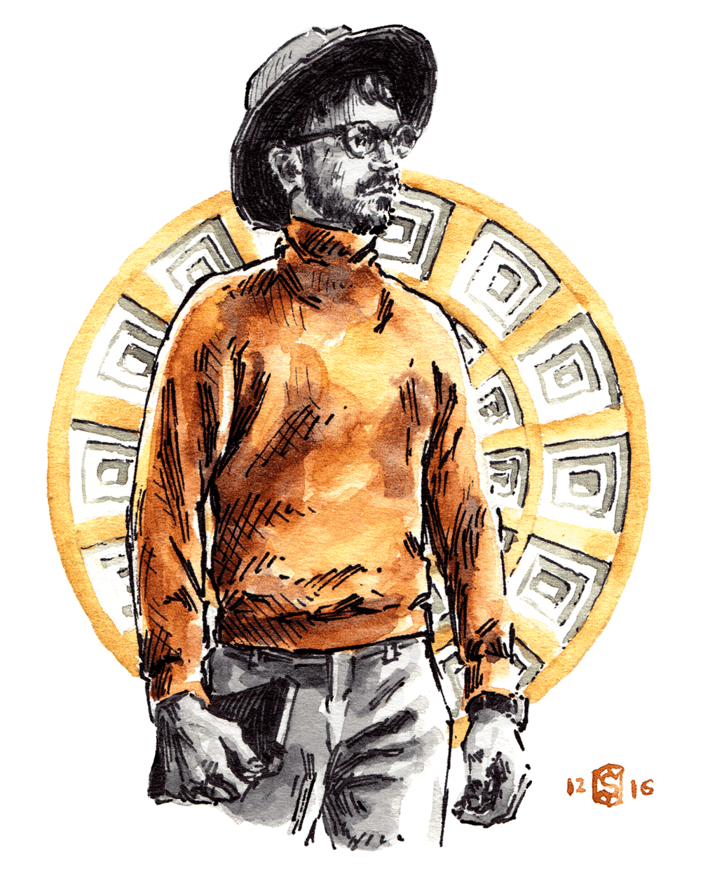 Illustrated man wearing a Boglioli sweater and fedora with coffered painting as background