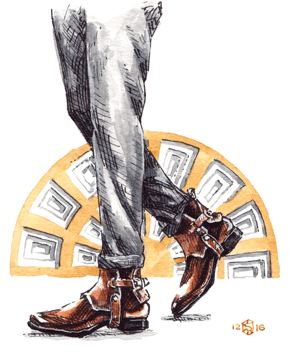Illustrated legs with trousers wearing Santoni boots and a coffered painting as background