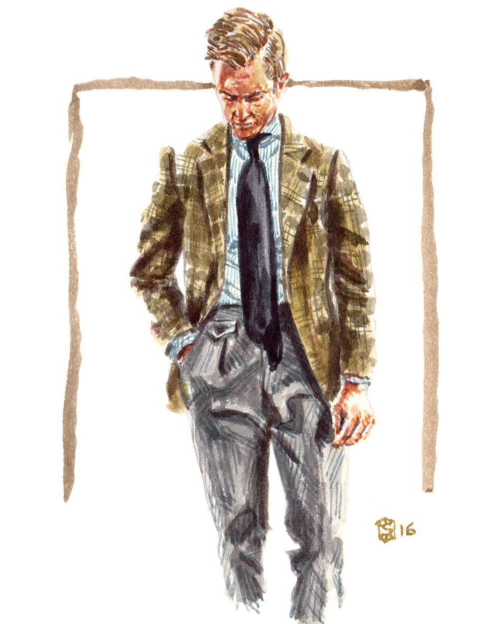 Portrait illustration of Beckett Robb designer, Derek Bleazard