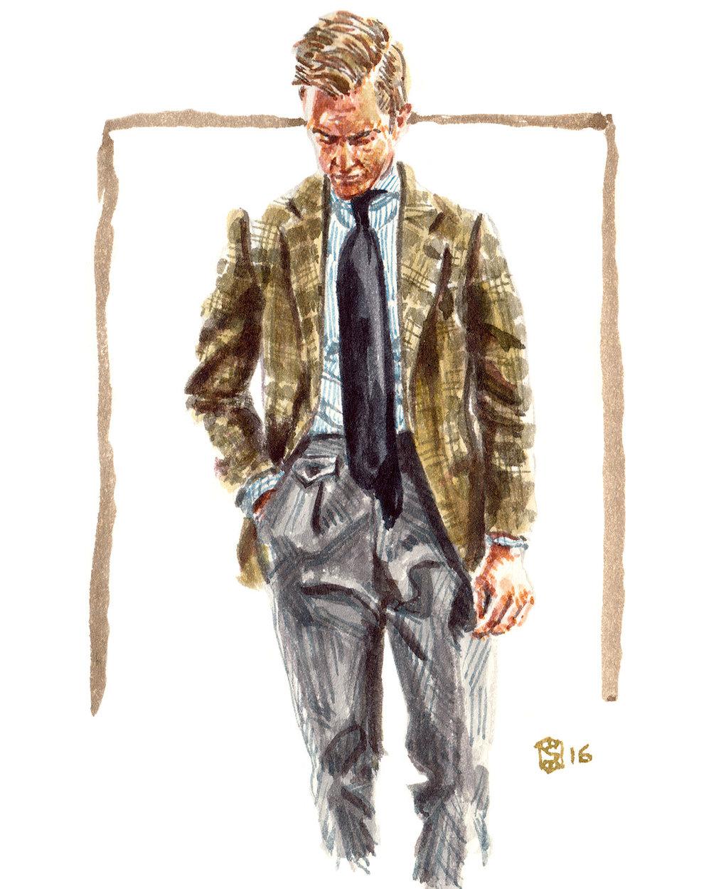 Portrait illustration of Beckett Robb designer, Derek Bleazard
