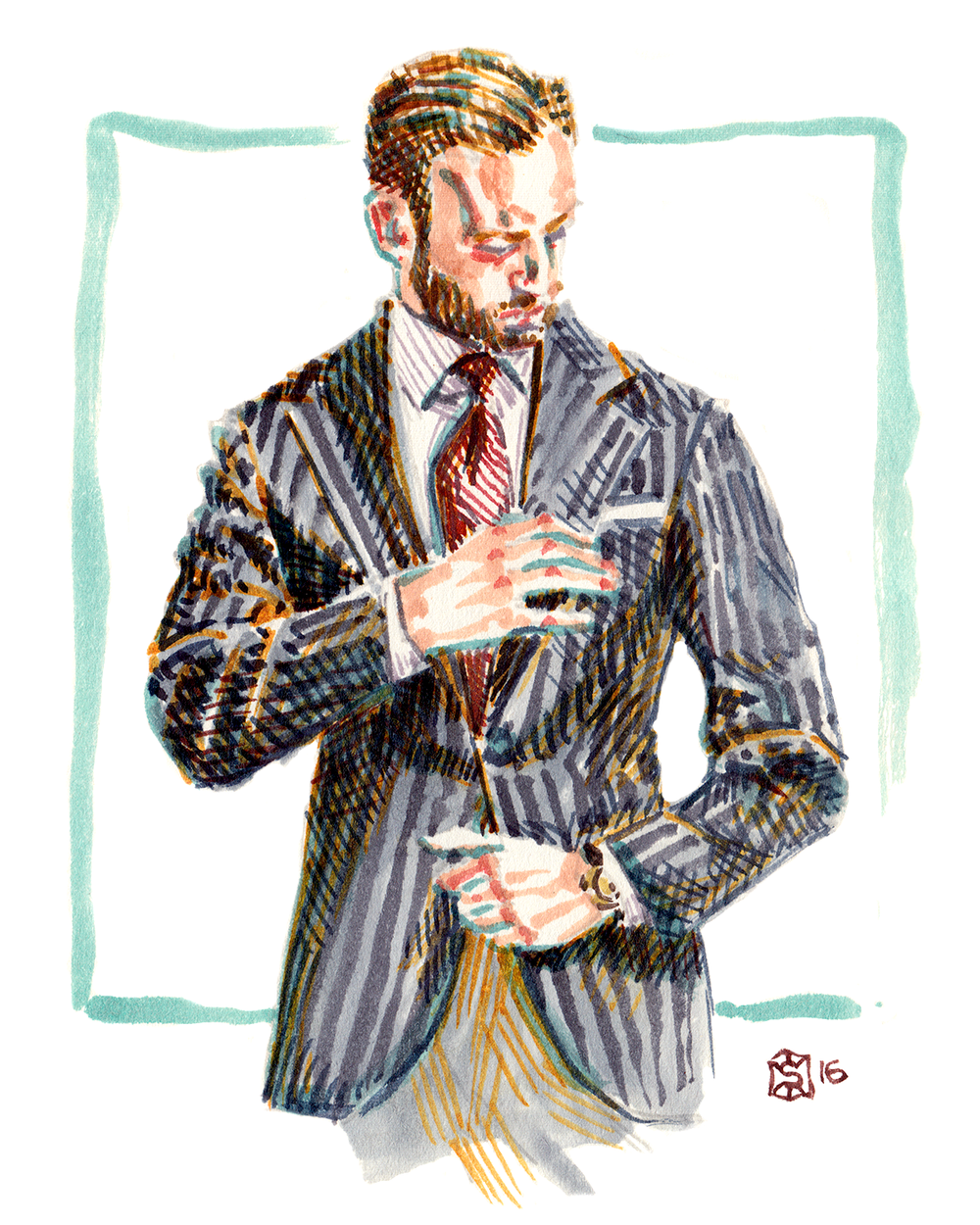 Illustrated menswear portrait of Andreas Weinas
