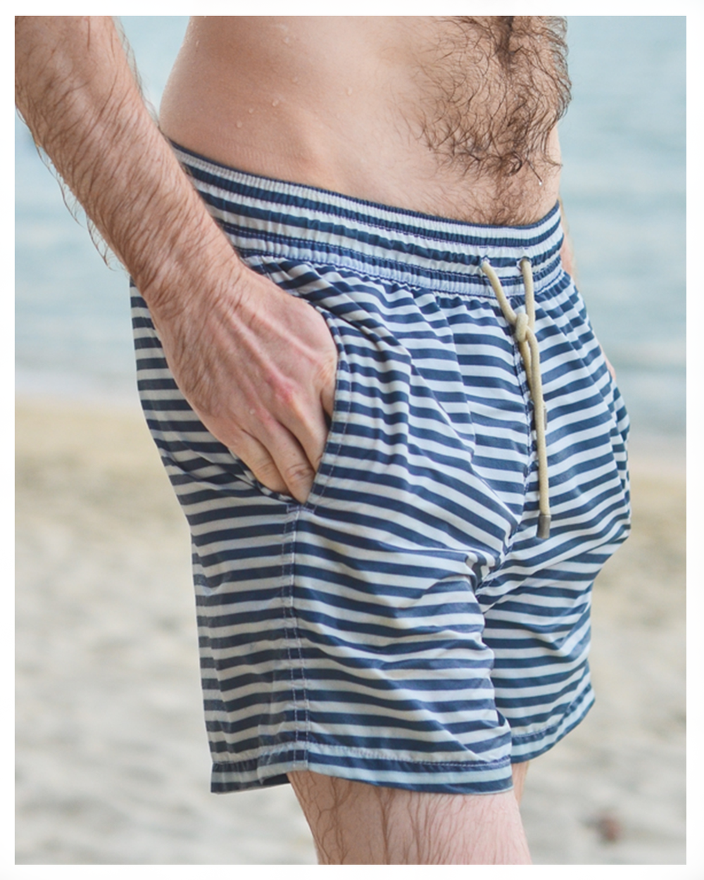 Solid and Striped swimming shorts