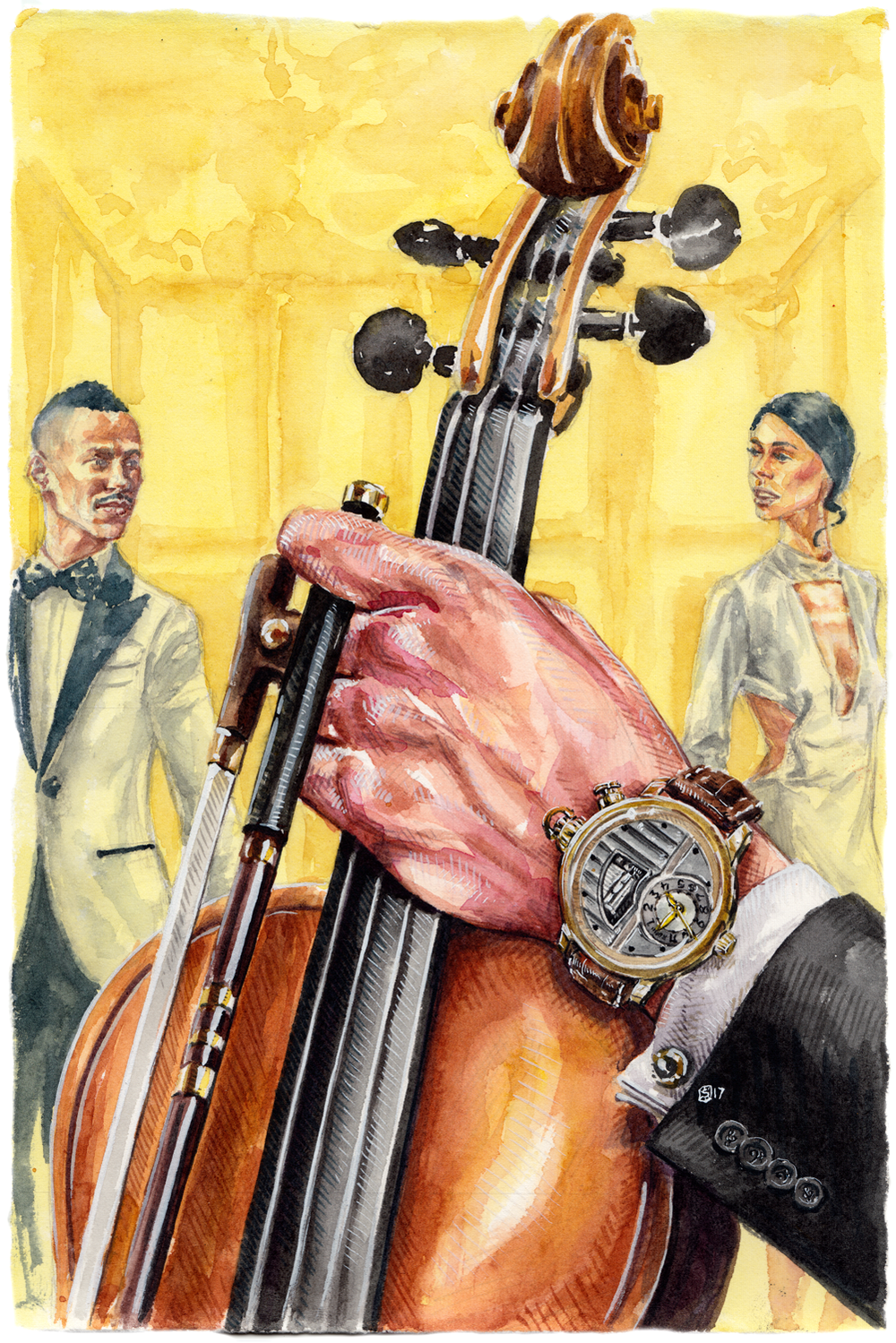 Watch in foreground with man holding violin. Man and woman in background with romantic tension between them