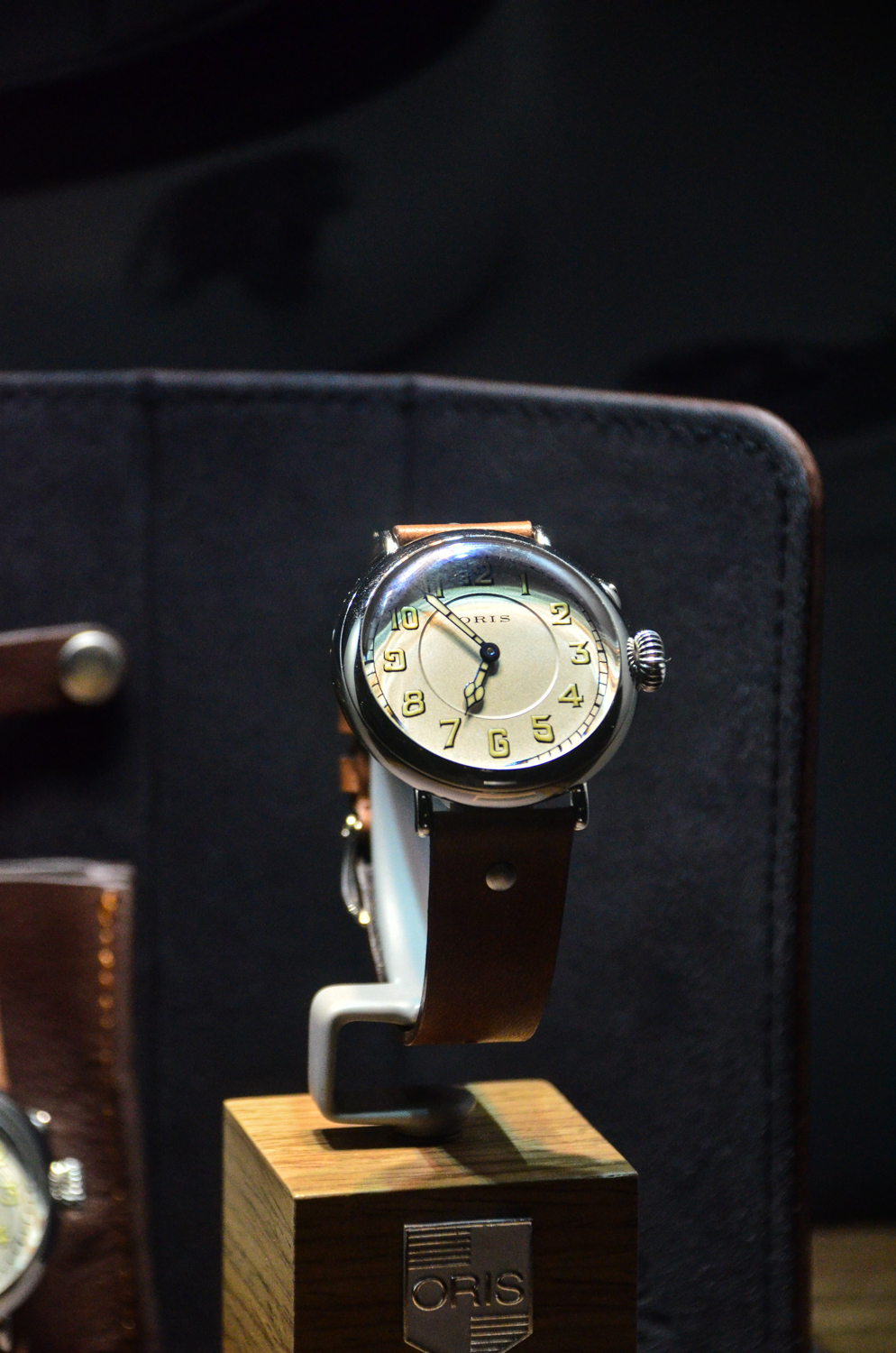 Oris Big Crown 1917 on display with dramatic light