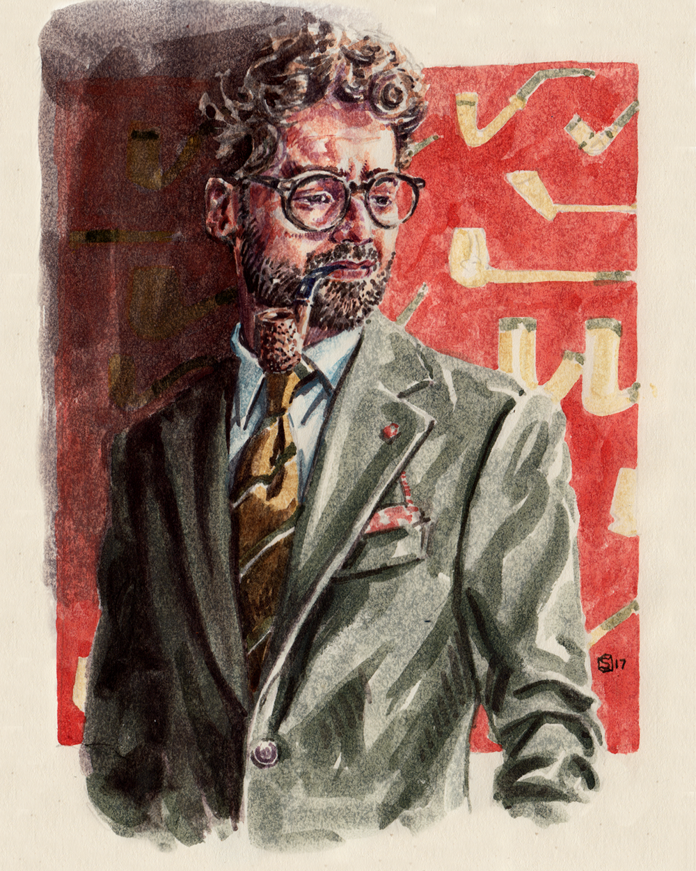 Fashion illustration portrait of blogger and menswear influencer Giorgio Giangiulio