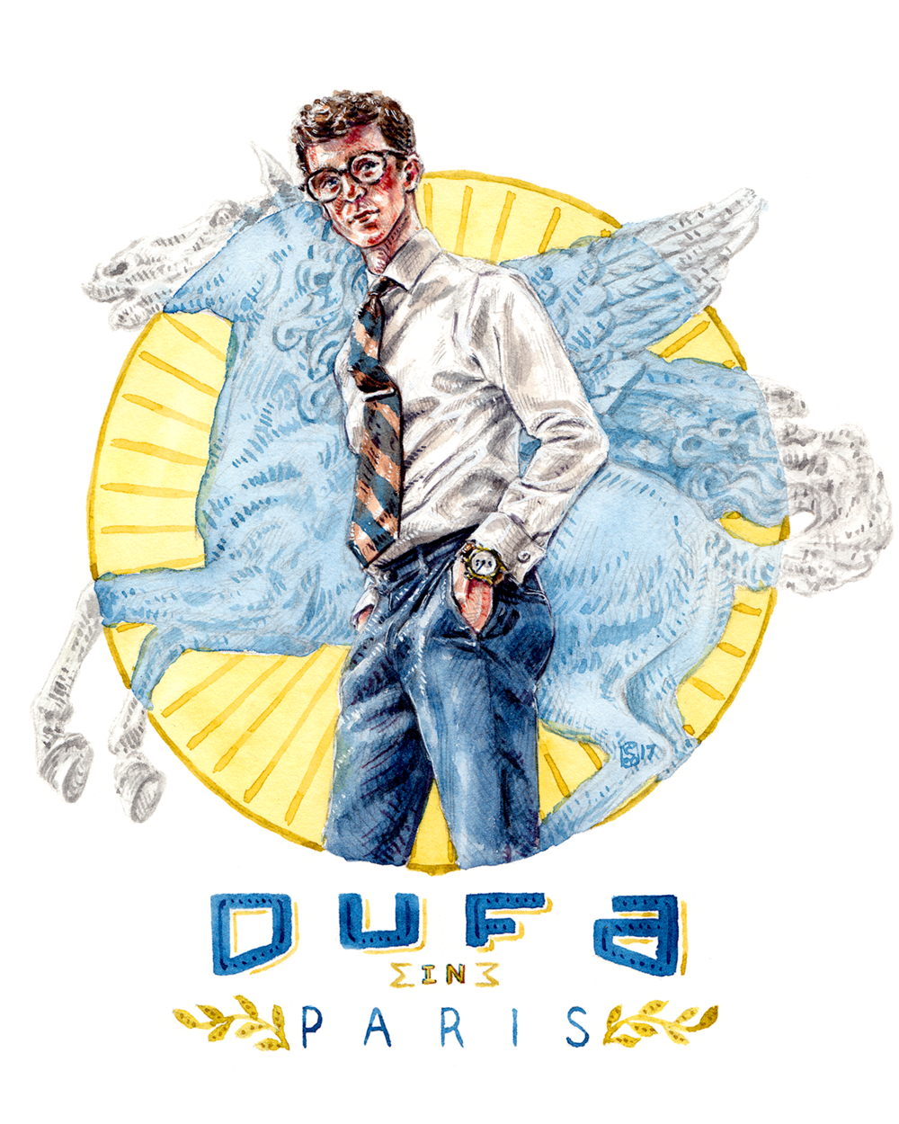 Painting of DuFa Watches in Paris, by Sunflowerman
