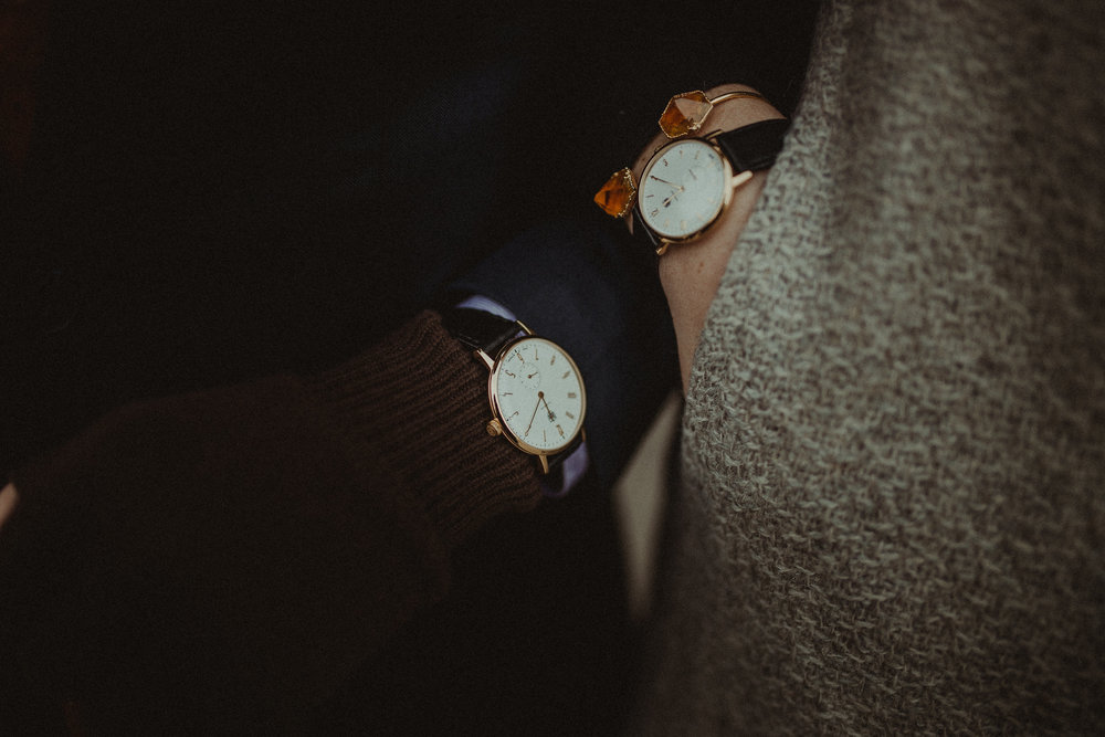 Pair of Deutsche Uhrenfabrik watches, mens and womens Gropius watch. Photo by  Leigh Ann Cobb Photography.