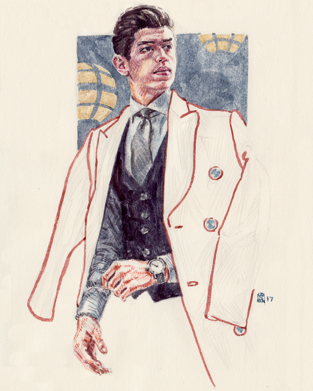 Men's Fashion Illustration Portrait of Jose Barbour
