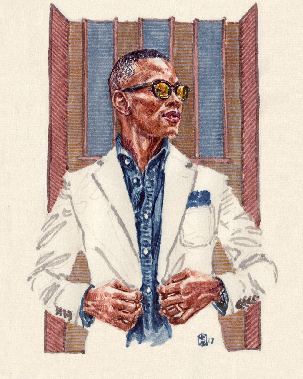 Fashion Illustration Portrait of Sabir Peele, the Men's Style Pro