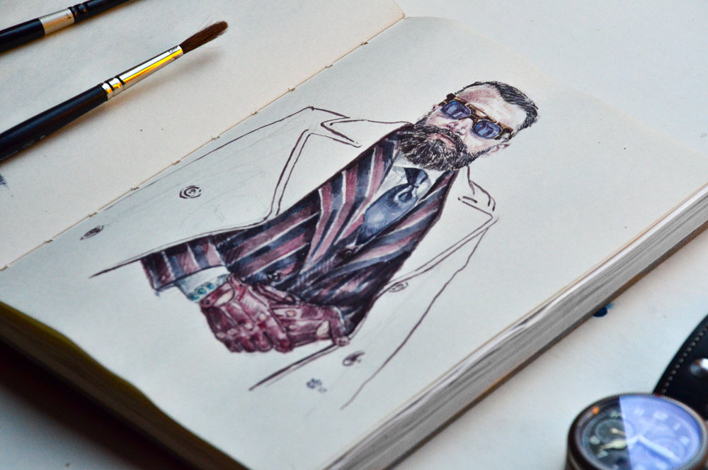Rui Martins portrait in sketchbook