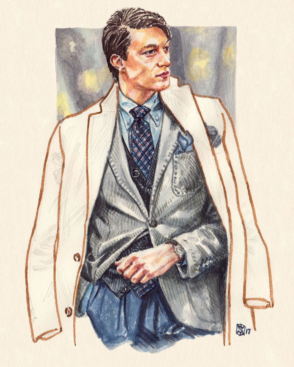 Fashion Illustration portrait of Szymon Jeziorko