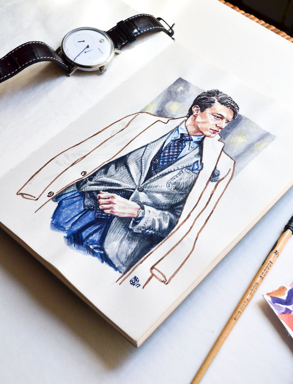 Sketchbook fashion illustration of Szymon Jeziorko in the Sunflowerman Studio