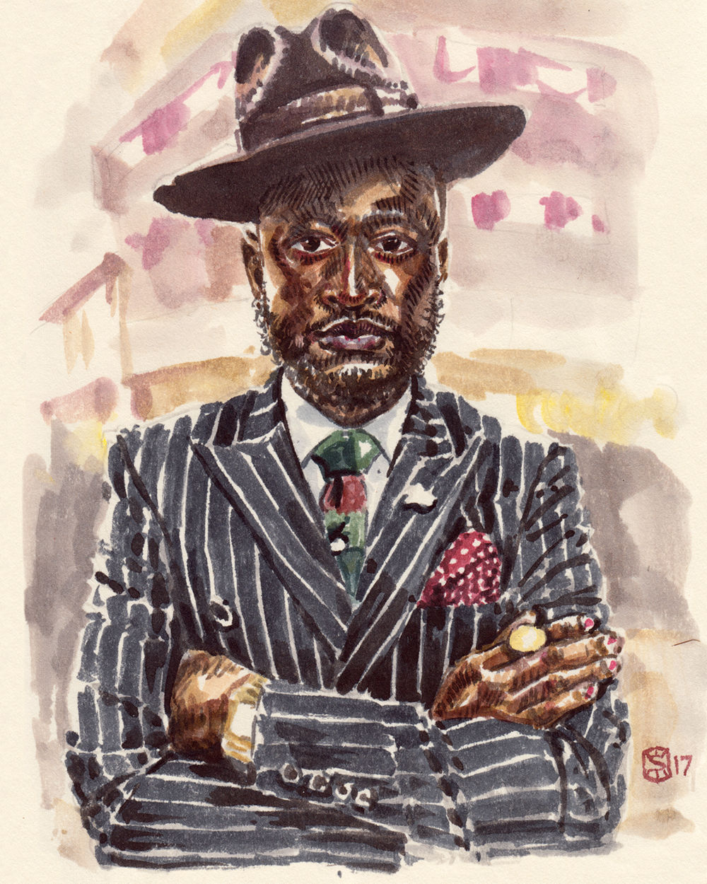 fashion illustration portrait of Lou the Vintage Guru