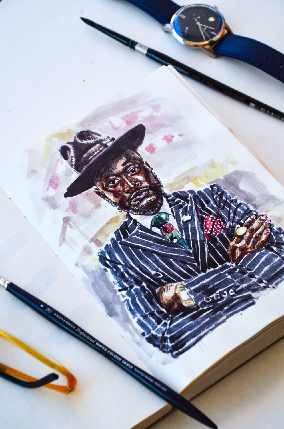 Fashion Illustration of Lourens Gebhardt in the Sunflowerman studio
