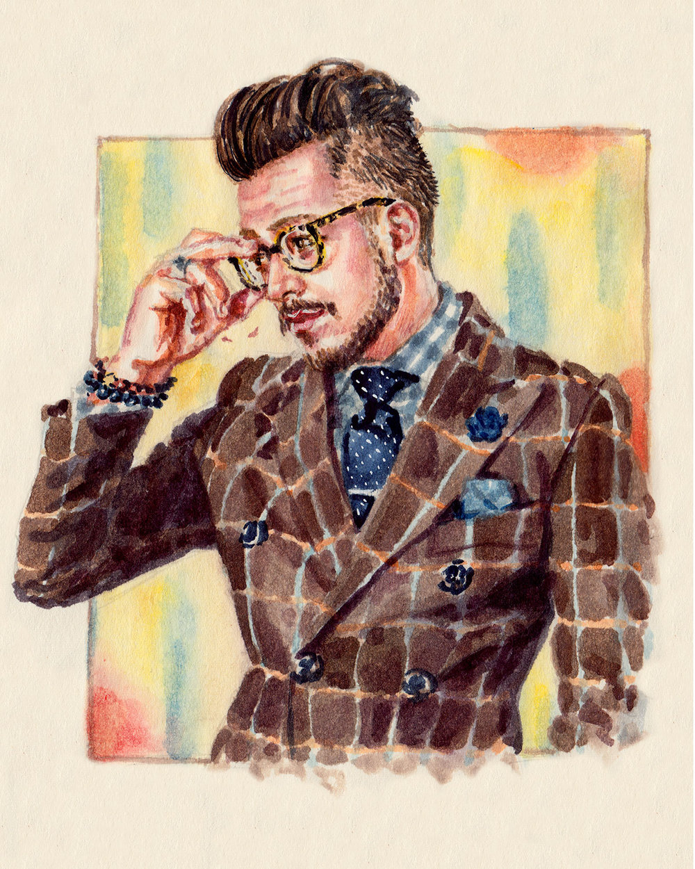 Fashion Illustration portrait of Nicholas Salas