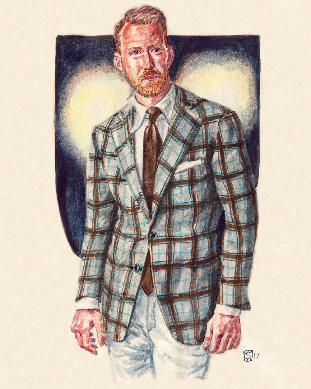 fashion illustration portrait of Martin Dunhoff