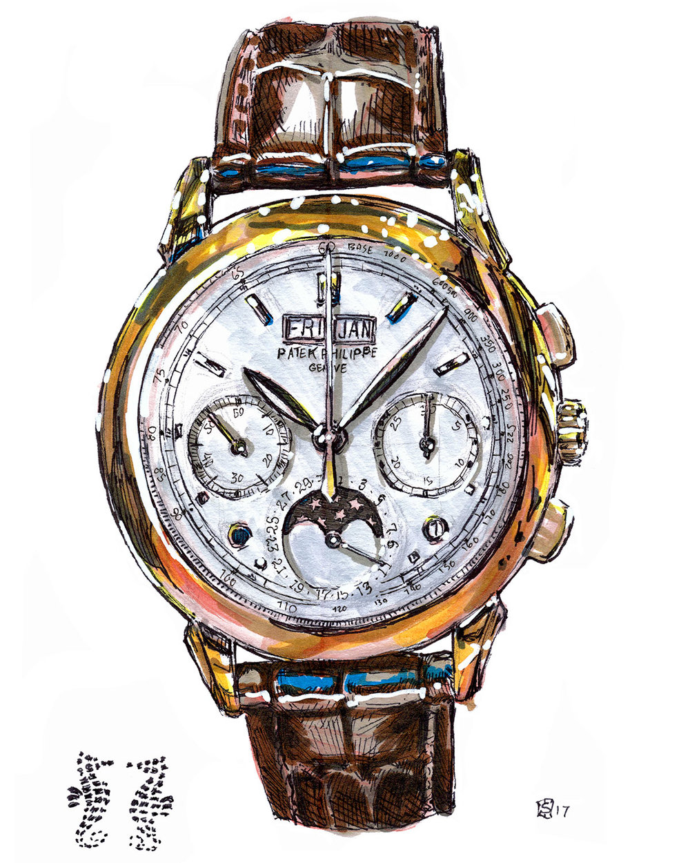 Patek Philippe 5270R 001 Moonphase illustration
