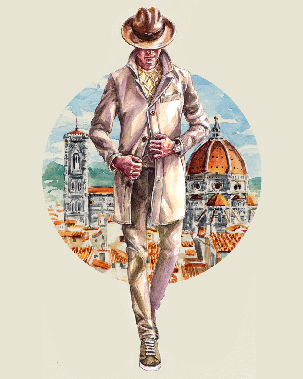 Fashion illustration of Luciano Barbera collection with a Duomo di Firenze background