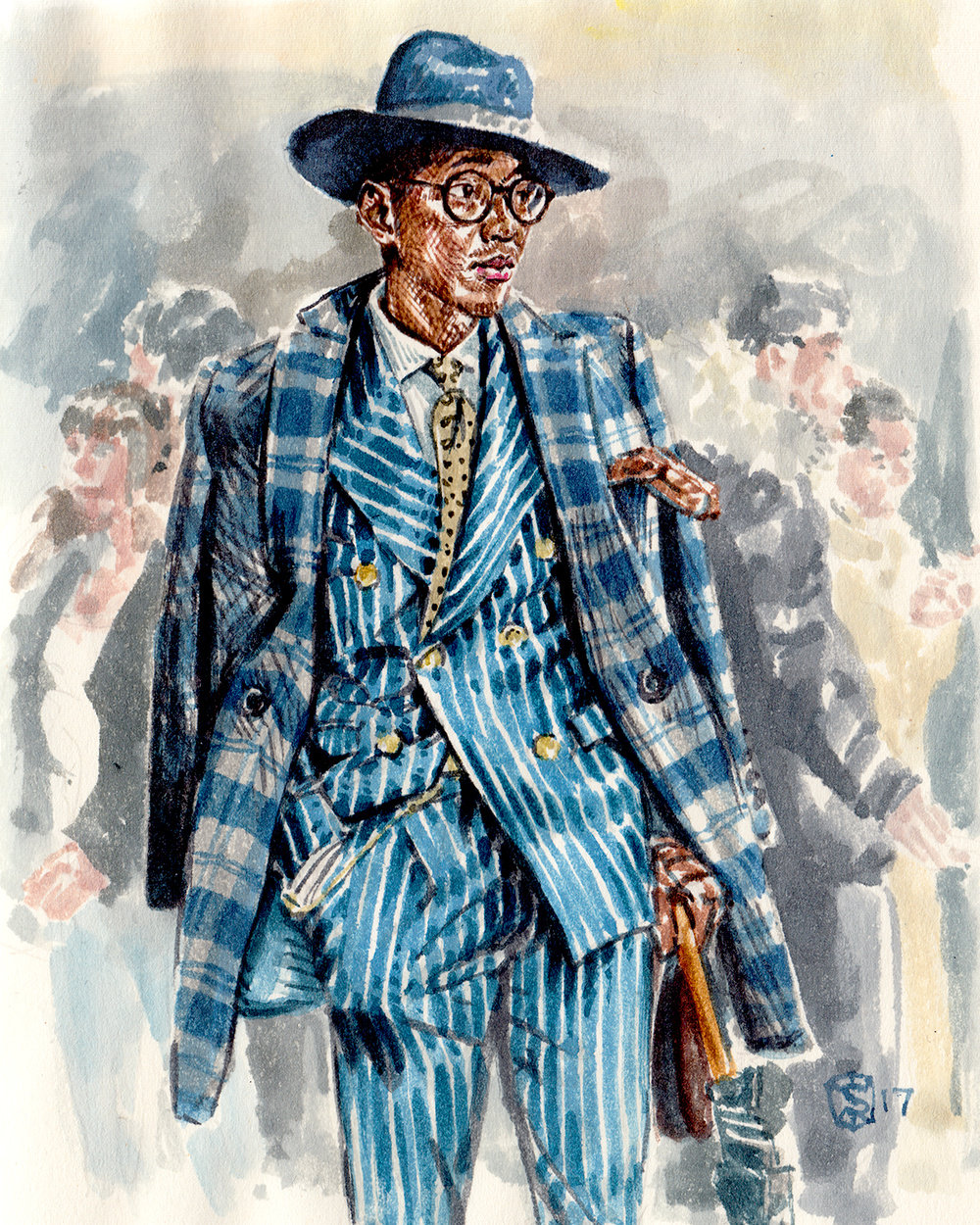 Men's fashion illustration of Brian Lehang