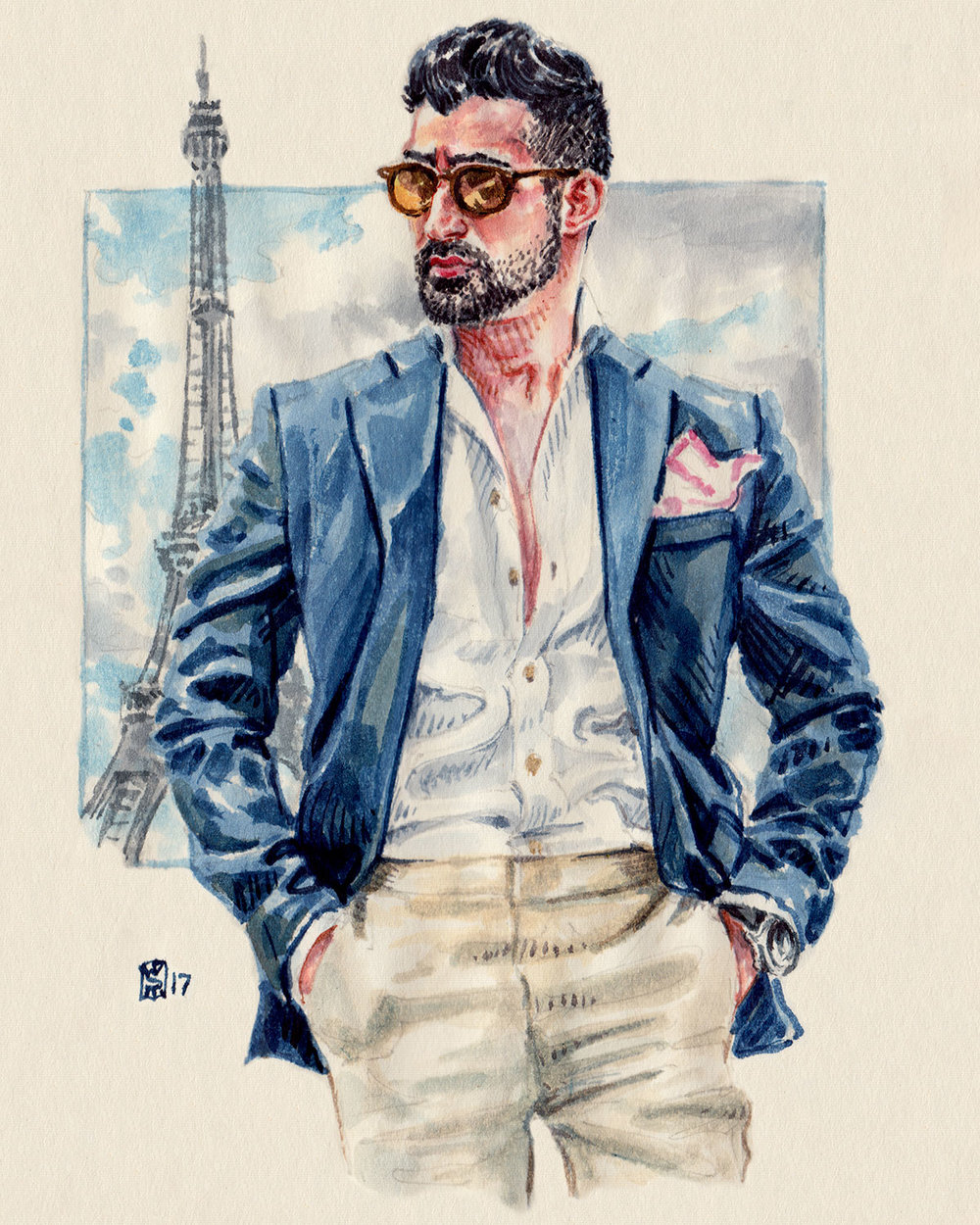 Men's fashion illustration of Makan Veli