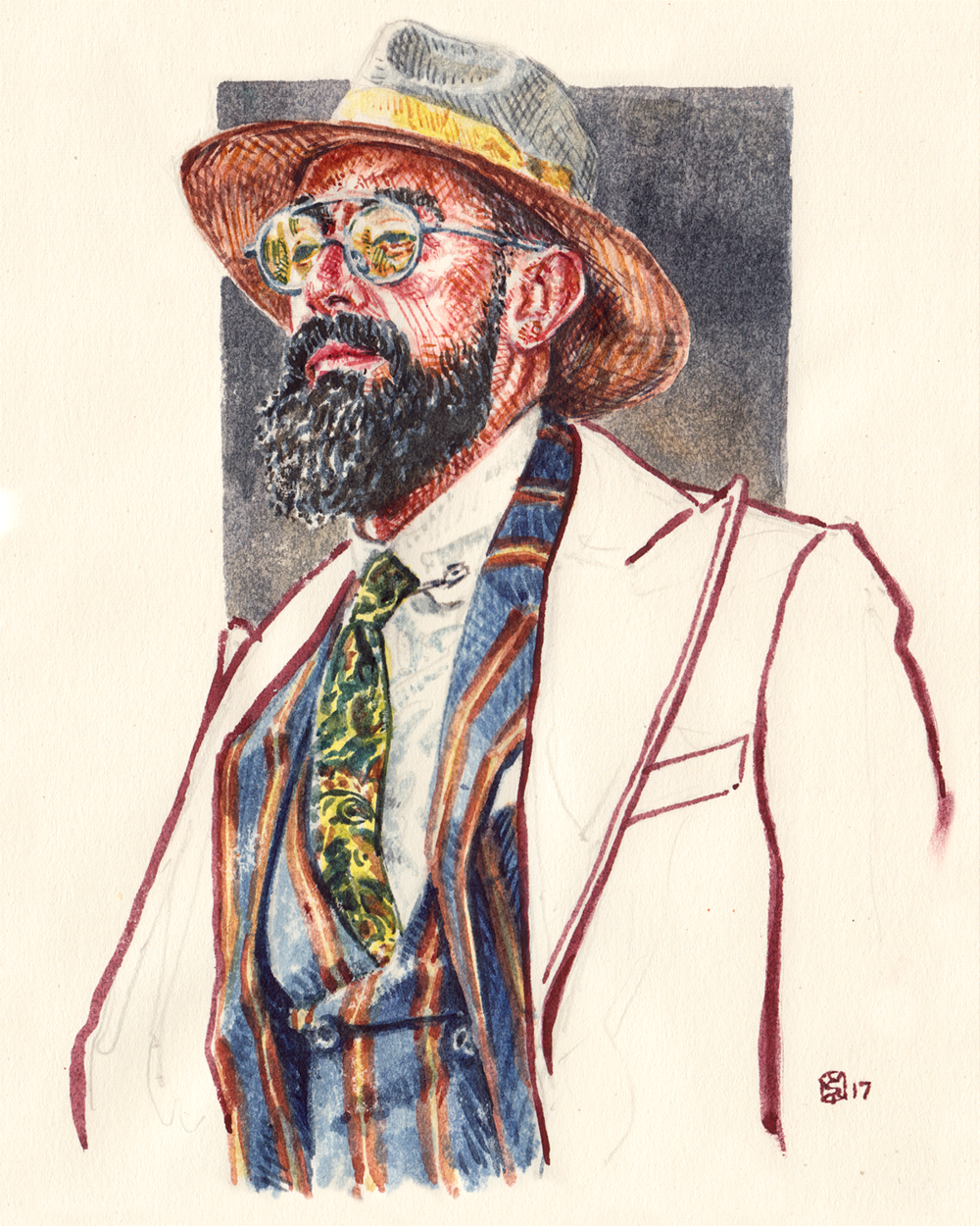 Men's fashion illustration of Paulo Battista, member of Portuguese Dandies