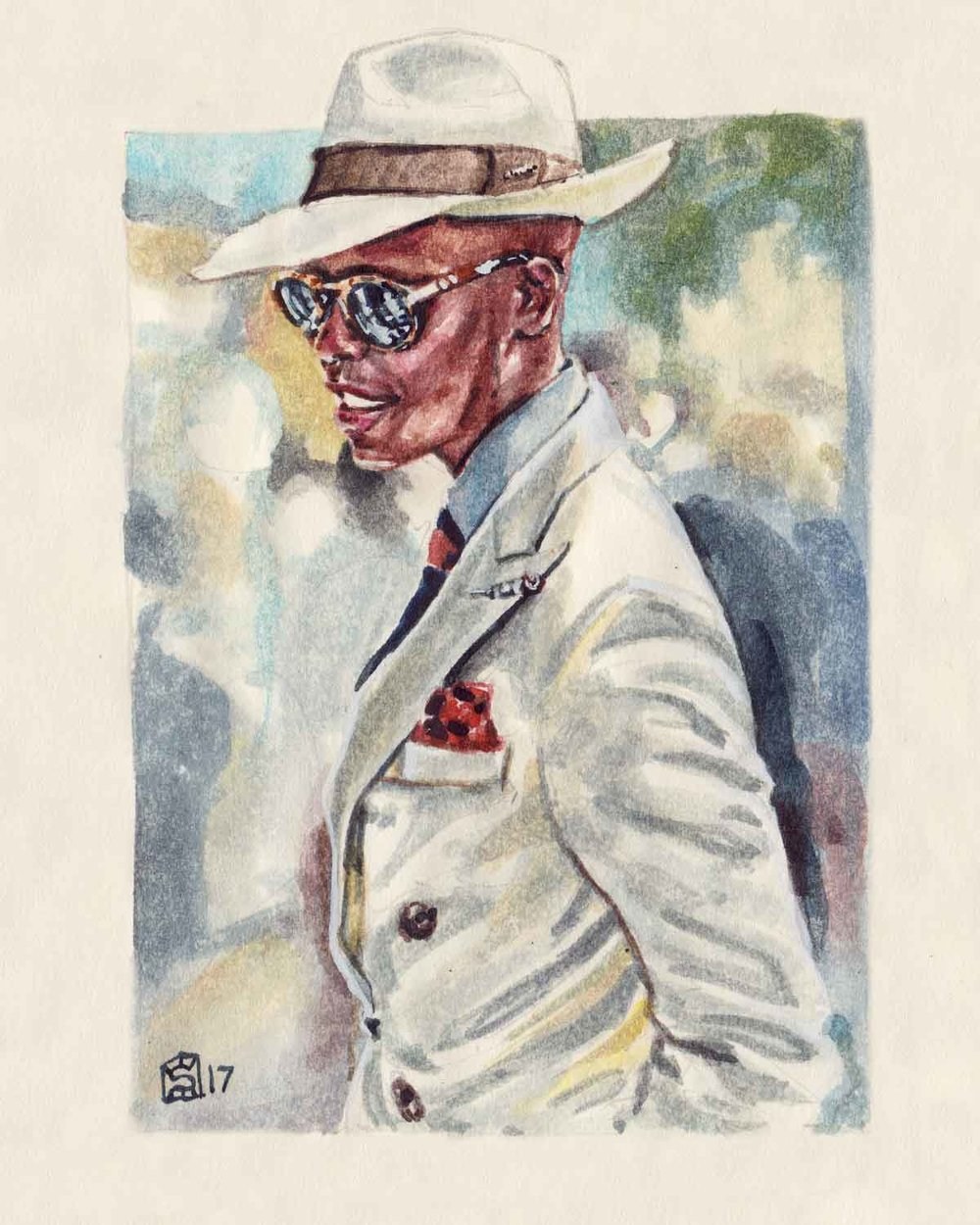 Men's fashion illustration portrait of Palmer Mutandwa of Button Brothers