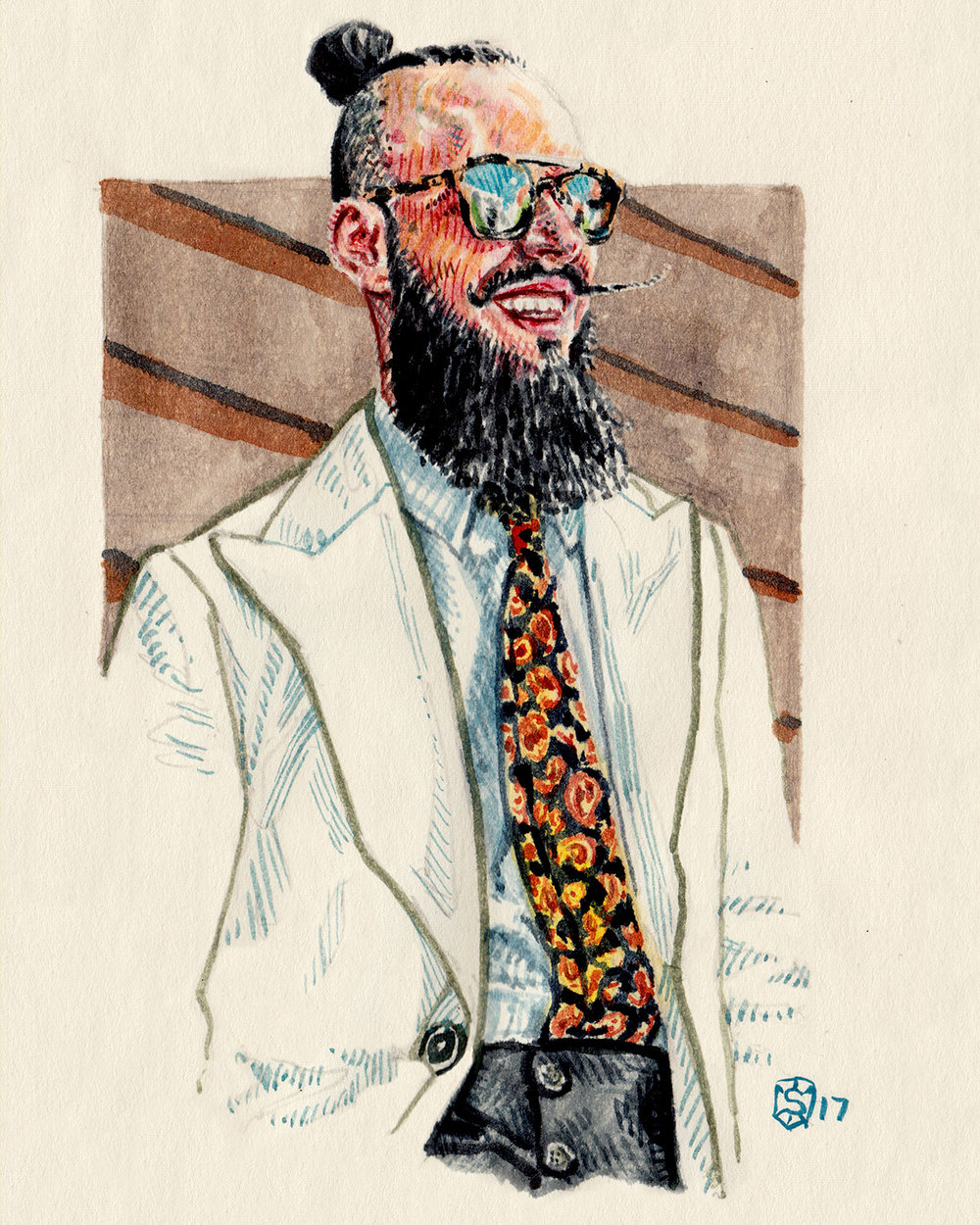 Men's Fashion illustration portrait of Artur Santos, one of the Portuguese Dandies