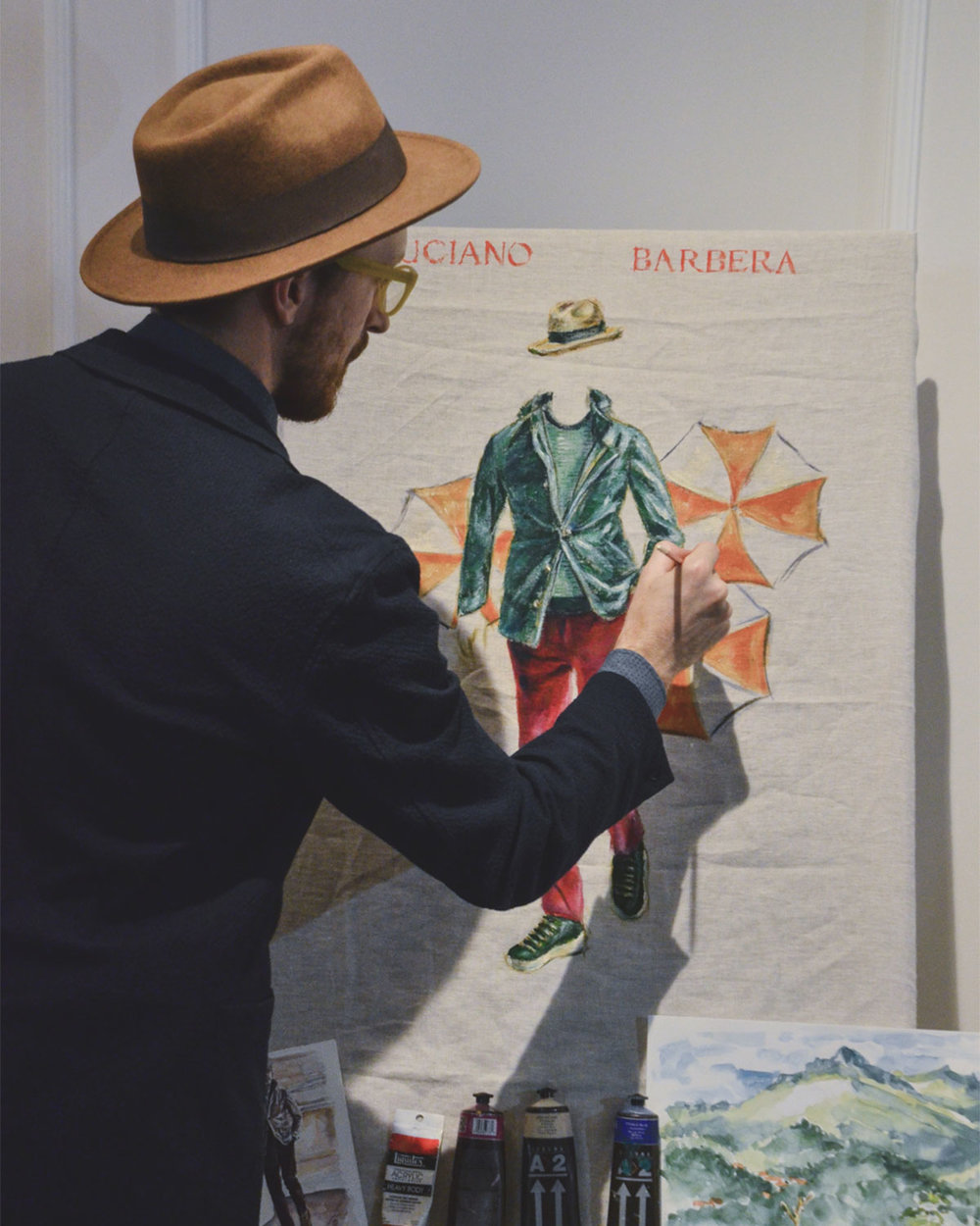 Luciano Barbera - Live Event Painting, Pitti Uomo 92