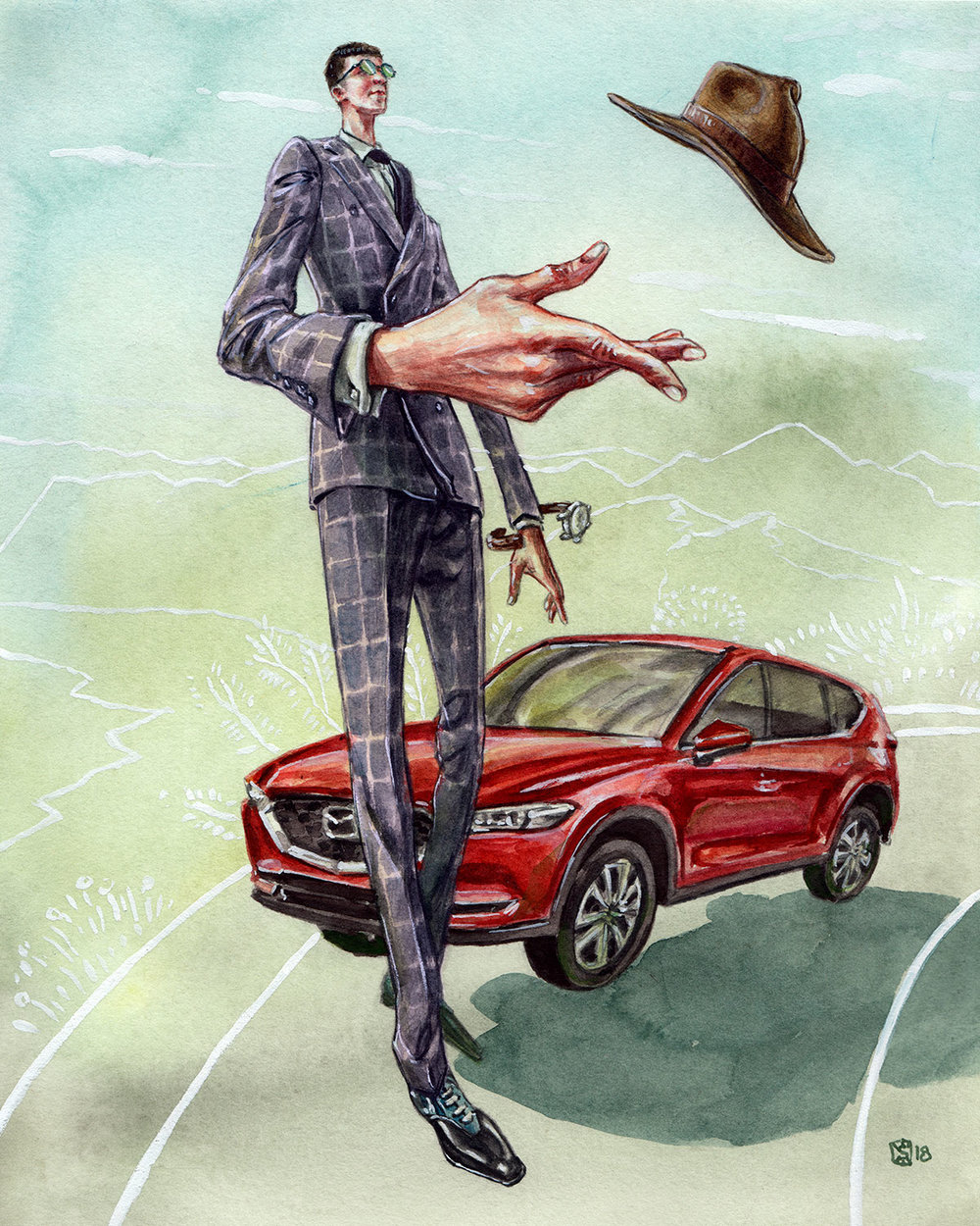 Mazda CX-5 Road Trip fashion illustration by Sunflowerman