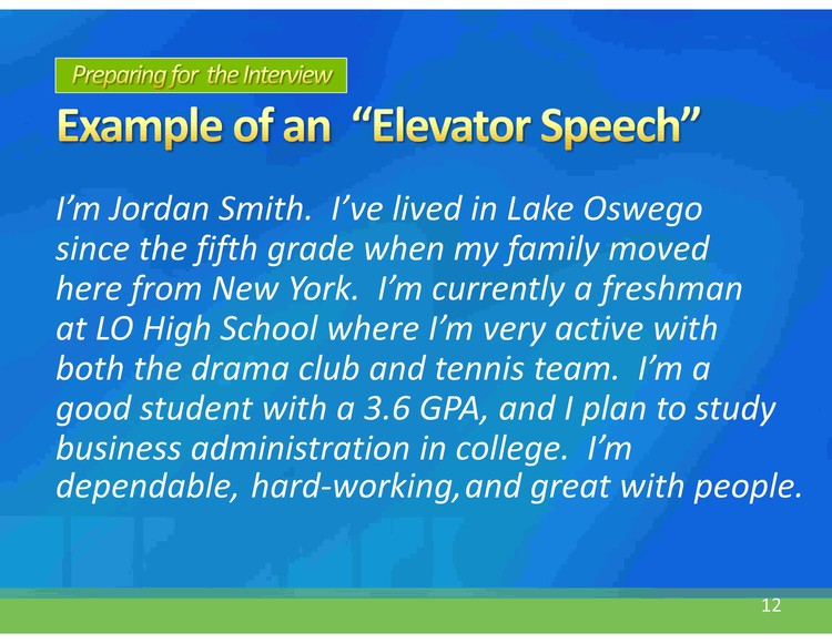 elevator speech examples for college students