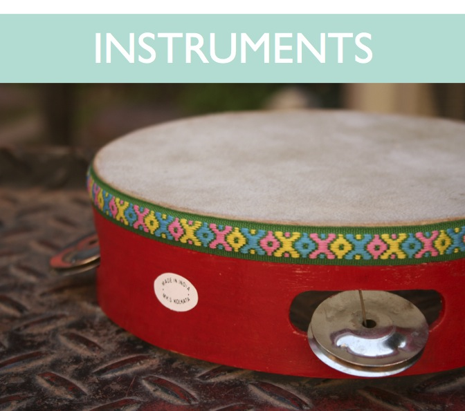 tambourines, drums, bird whistles, flutes, ocarinas, scrapers, bells, panflutes, rain sticks, gongs, singing bowls, thumb pianos, thunder tubes, spin drums, rattles