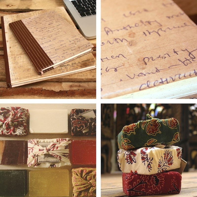 Fair Trade Recycled School Paper Journal/Notebook handmade in India and Scents of India Bars of Soap
