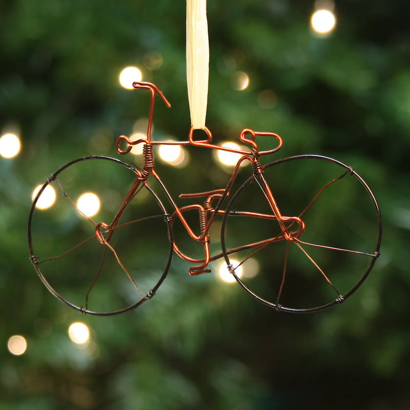 wire bike ornament kenya fair square imports - Bicycle Christmas Ornament