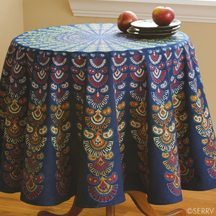 Blue Floral Round Tablecloth   India