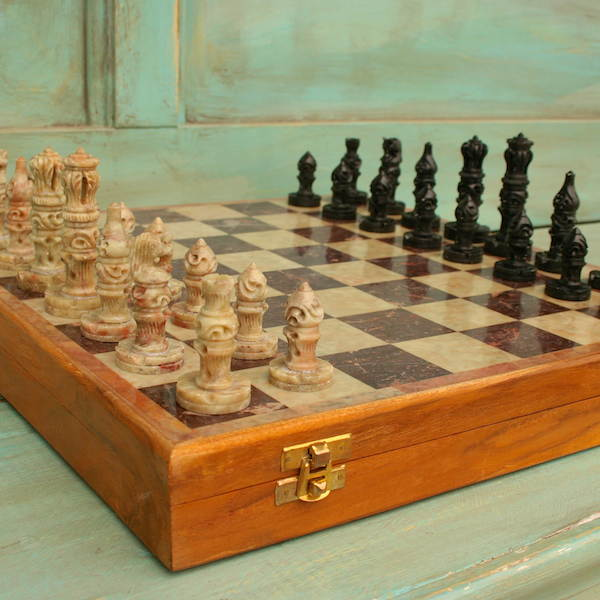 Chess Set Large Nice Stone Carved Travel 5.